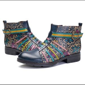 SOCOFY Printing Retro Splicing Flat Leather Boots